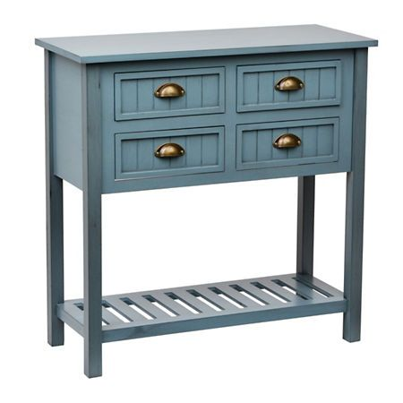 blue beadboard 4drawer console table