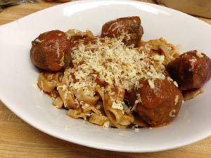 Spelt Pasta with Bison Meatballs.