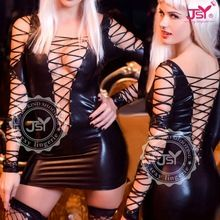 2015 JSY hot girls black latex clubwear bondage sexy leather dress  Best Seller follow this link http://shopingayo.space
