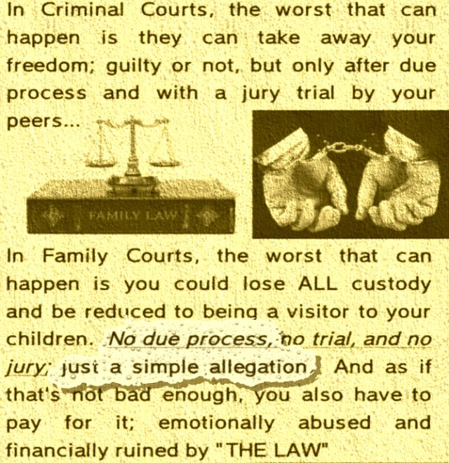 """""""There is no system ever devised by mankind that is guaranteed to rip husband and wife or father, mother and child apart so bitterly than our present Family Court System."""" -Judge Brian Lindsay Retired Supreme Court Judge, New York , New York"""