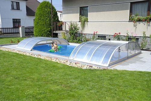 Pools waterfalls and decking ideas on pinterest for Above ground pool siding ideas