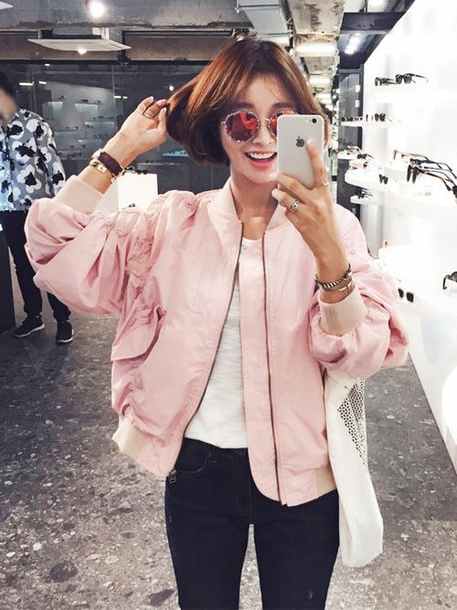 Baby pink bomber jacket More