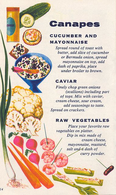 A selection of 1960s canape ideas.