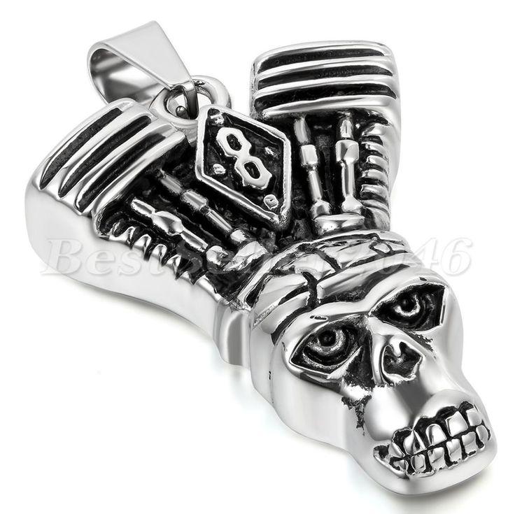 Edelstahl Anhänger Halskette Silber Schwarz Native American Indian Totenkopf