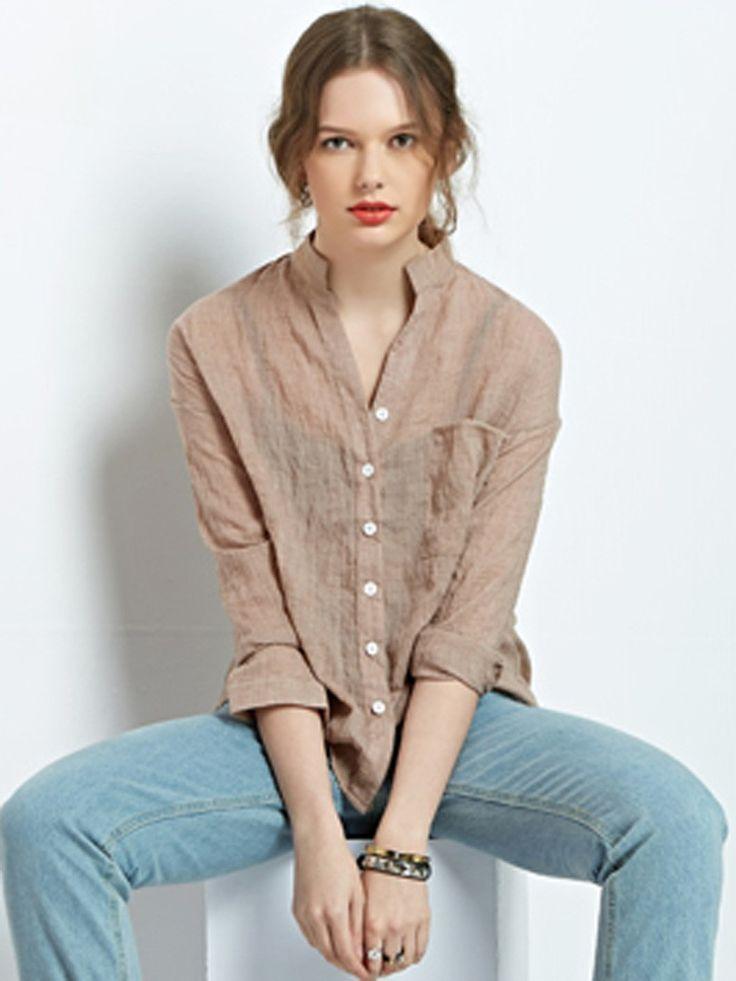 Khaki Stand Collar Pocket Button Roll Up Sleeve Shirt