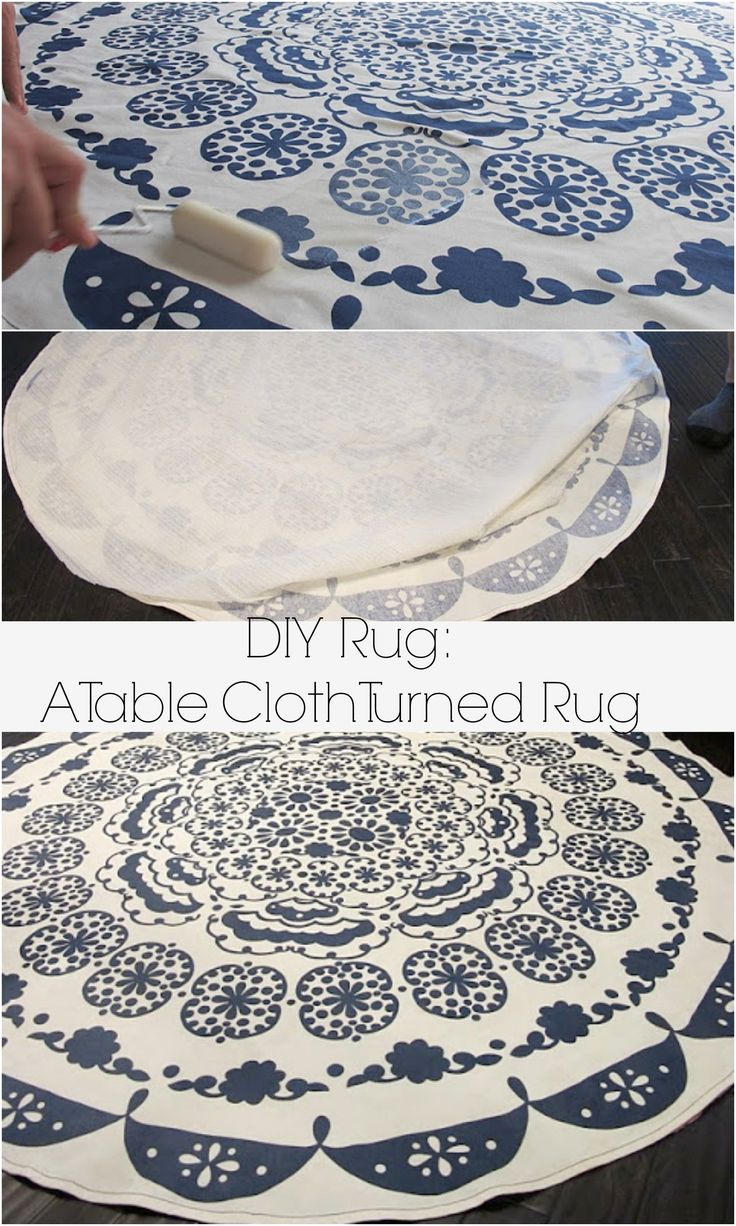 Turning A Table Cloth In To A Rug: A DIY Anthropologie Rug - Dream Book Design