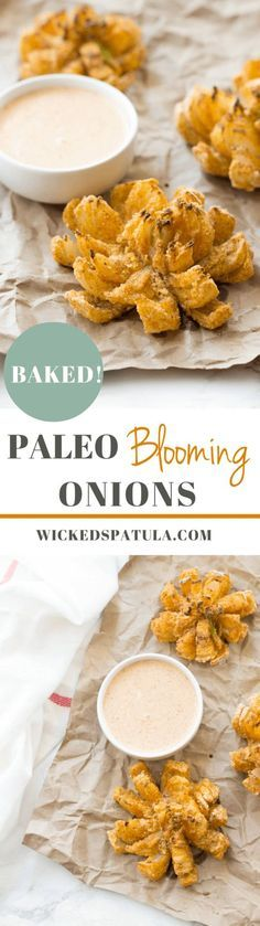 Baked Paleo Blooming Onions - This Paleo appetizer is perfectly crunchy and served with a spicy horseradish sauce.