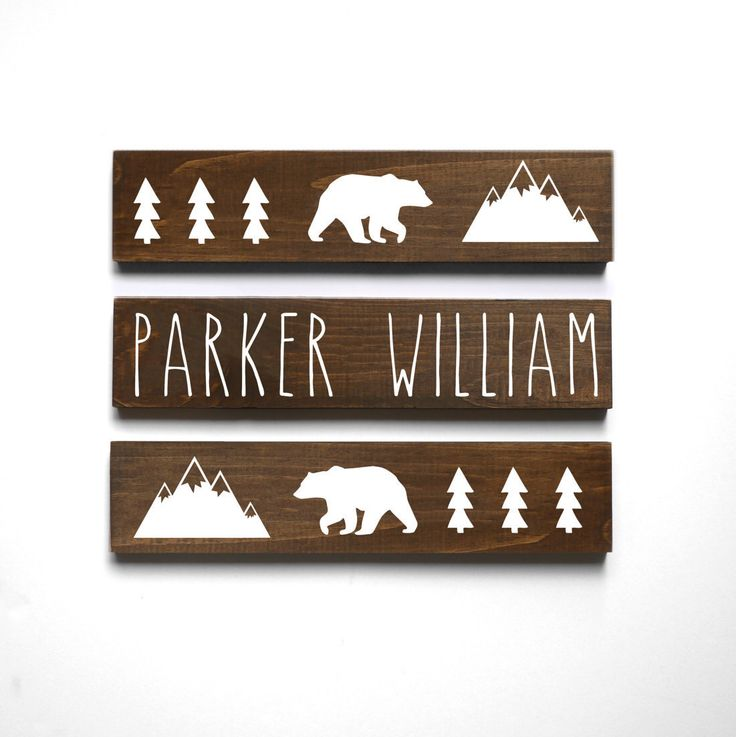 Woodland Nursery Decor, Mountain Nursery Decor, Personalized Baby Gift, Baby Bear Nursery Decor, Baby Name Sign, SET OF 3 SIGNS by HandyGerl on Etsy https://www.etsy.com/listing/509497989/woodland-nursery-decor-mountain-nursery