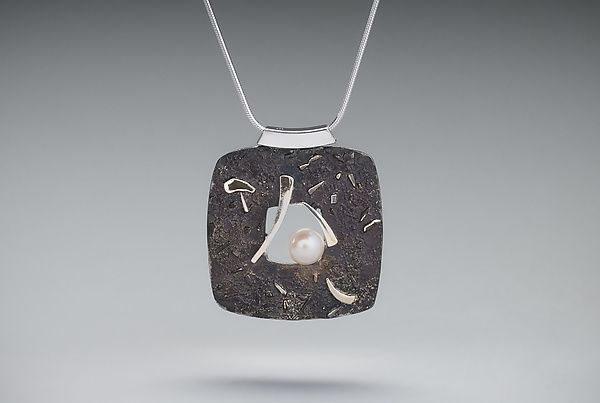 Midnight Moon Window Necklace by Chi Cheng Lee (Silver & Stone Necklace) | Artful Home