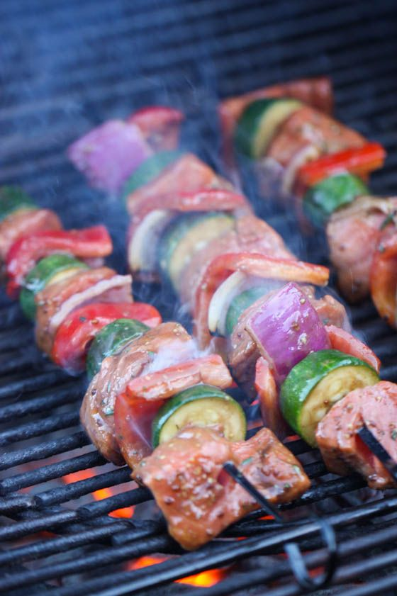 Grilled Balsamic Salmon Kabobs - serve with couscous, quinoa or rice for an easy summer dinner!