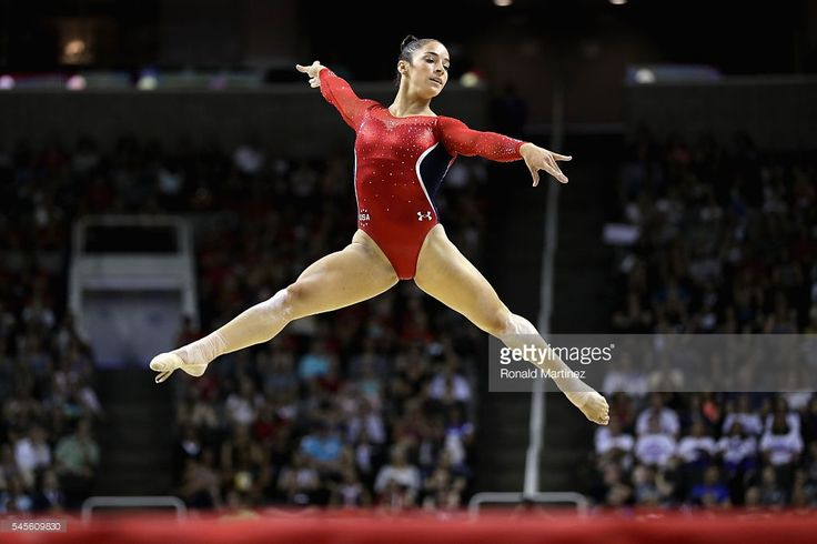 Alexandra Raisman competes on the floor exercise during day 1 of the 2016 U.S. Olympic Women's Gymnastics Team Trials at SAP Center on July 8, 2016 in San Jose, California.