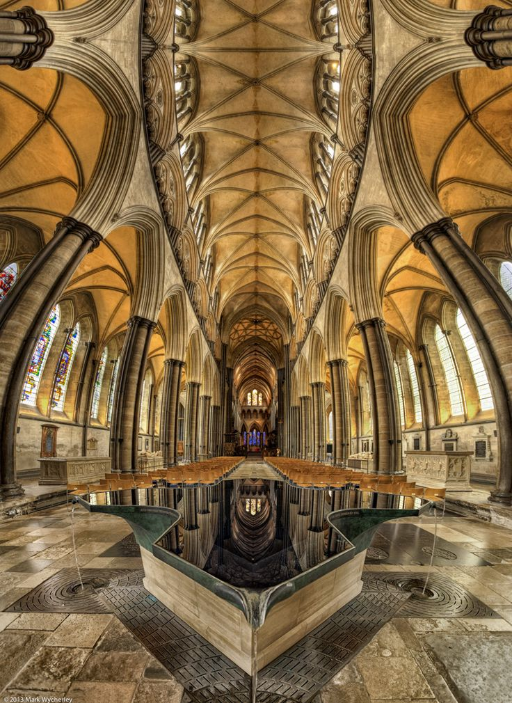 Salisbury Cathedral, UK - also known as The Cathedral Church of the Blessed Virgin Mary in Salisbury. Photo by Mark Wycherley The water in the font is also reflect...
