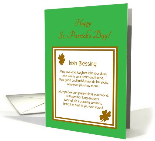 872 best greeting cards images on pinterest boats greeting patricks day irish blessing with gold shamrocks card personalize any greeting card for no additional cost cards are shipped the next business day reheart Image collections