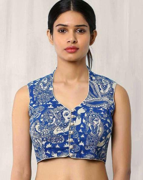 Buy Blue Indie Picks Kalamkari Print Blouse | AJIO