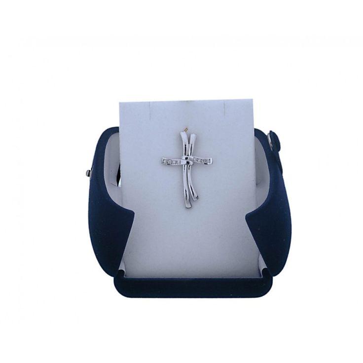 Σταυρός Γυναικείος δίχρωμος Κ18  με Μπριγιάν