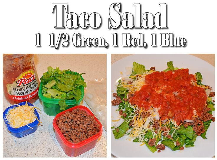 21 Day Fix Taco Salad 1 red ground beef, 1 green romaine and a small bit of onion, 1/2 green of salsa, 1 blue of cheese www.beachbodycoach.com/Nteres www.facebook.com/BeachBodyRockin
