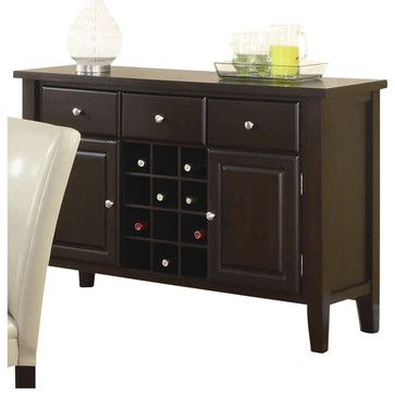 Coaster Carter Buffet Style Server in Dark Brown Wood Finish transitional-buffets-and-sideboards