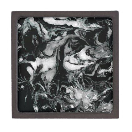 Black and white Marble texture Liquid paint art Jewelry Box - craft diy cyo cool idea
