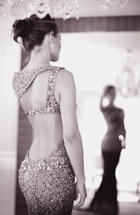 updo, sequin dress, open back
