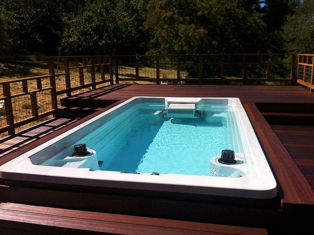 Build a Fastlane Pools Swim Spa into your deck for a great finish and easy access.