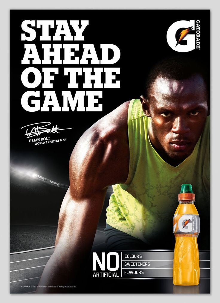 This ad was created from Gatorade. This ad includes a ...