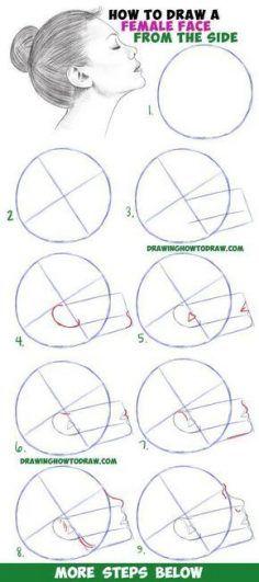 Erfahren Sie, wie Sie ein Gesicht aus der Seitenansicht zeichnen (weiblich / Mädchen / Frau) Einfach