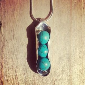 Handmade Cutlery Jewellery - Peas In A pod Solid Silver Teaspoon folded around gorgeous semi precious turquoise beads.