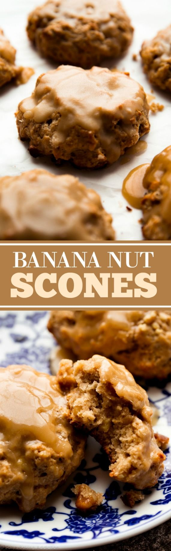 Deliciously moist, flaky, and crumbly banana nut scones with maple glaze. Not quite banana muffins, but everything you crave for breakfast! Recipe on sallysbakingaddiction.com