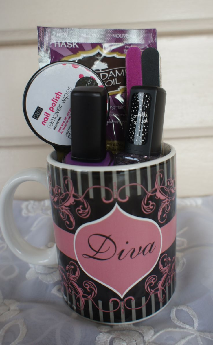 For the nail diva in you life. This pack includes:Diva MugNail FilesFace Mask2 Nail PolishSmall Tin Nail Polish Remover WipesThis pack is pictured with 1 Purple Nail Polish and 1 Purple Glitter Nail Polish.  Colour can be selected in choices.This Gift Pack can be posted to anywhere in Australia.Complimentary gift wrapping in quality brown paper and ribbon.