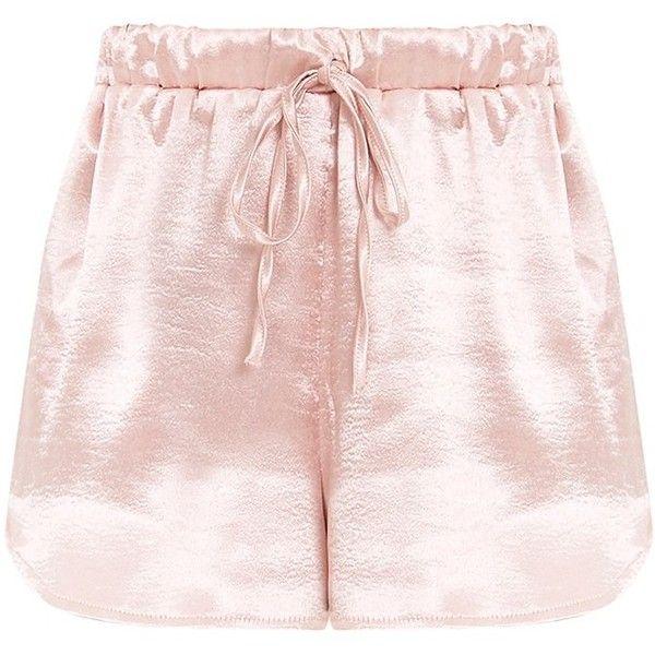 Mireyah Blush Satin Shorts (£18) ❤ liked on Polyvore featuring shorts, satin shorts, sports shorts and sport shorts