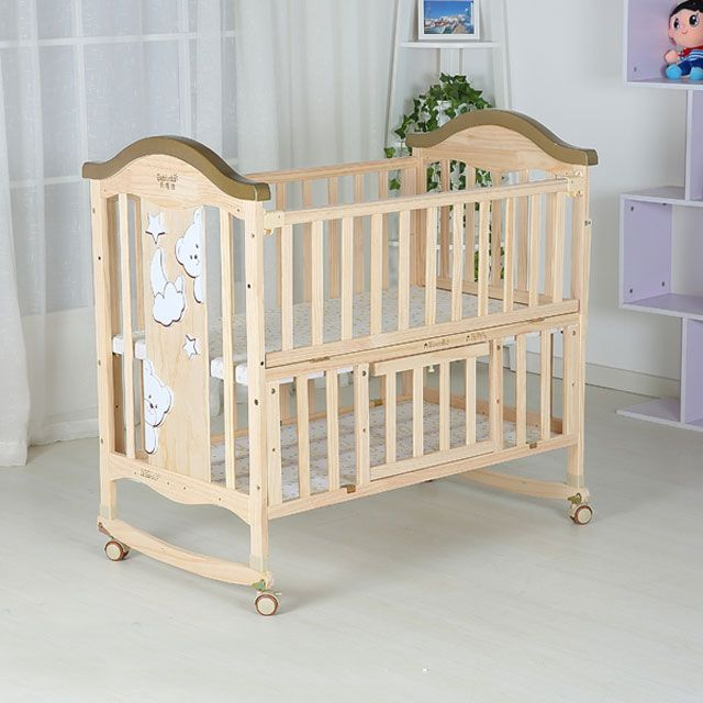 Natural Color Baby Swing Cot Converting From Baby Cribs To Adult