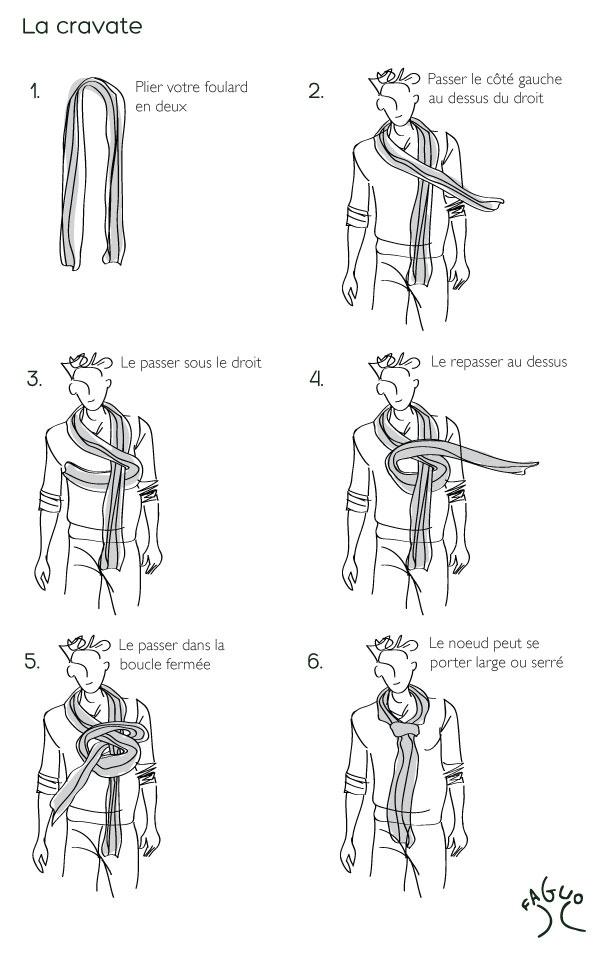 Astuces mode #FAGUO - Nouer un #foulard - La cravate