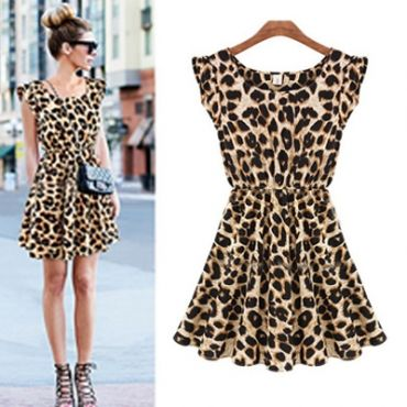 Fashion Women's Sleeveless Printed Leopard Dress
