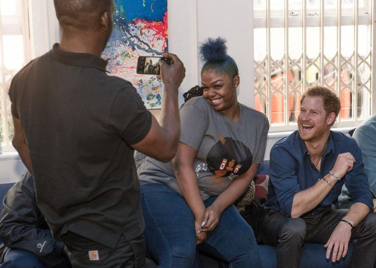 Prince Harry has a photo taken with 16-year-old Renee Hines in one of the rehearsal studios during his visit to Russell Youth Centre on October 26, 2016 in Nottingham, United Kingdom.  RICHARD STONEHOUSE/GETTY