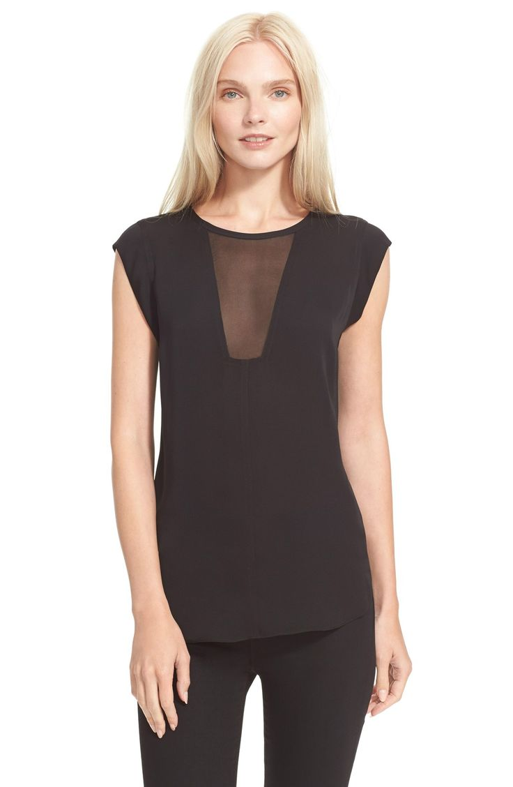 Rebecca Taylor 'Charlie' Sheer Inset Silk Top
