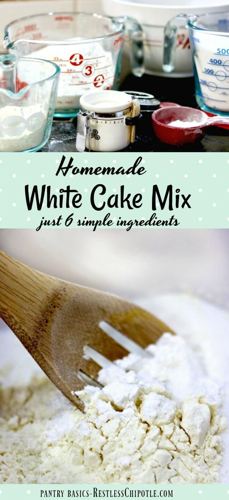 This homemade white cake mix is easy to mix up and stays fresh for several months on your pantry shelf. Saves money and tastes great, too. 6 ingredients. From restlesschipotle.com via @Marye at Restless Chipotle