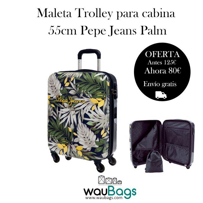 Con esta Maleta Trolley Pepe Jeans Palm no tendrás que facturar, ya que sus medidas son las homologadas para poder llevarla en la cabina del avión. Está totalmente forrada en su interior, dispone de dos compartimentos separados por cremallera, varios bolsillos y además, trae una bolsa de tela especial para zapatos!!  @waubags#pepejeans #maleta #trolley #viajes #descuento #oferta