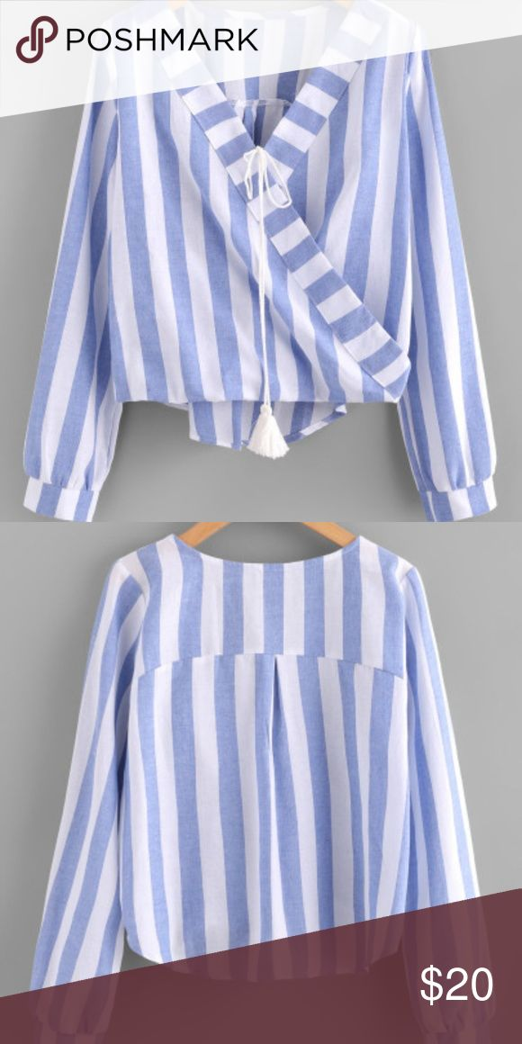 Wrap tasstle tie blouse Contrast striped blue and white nautical blouse. Very elegant and lightweight pretty detailing good for a hot day with a sofisticated look 💓🌹 more descriptive measurements shown in picture. Tops Blouses