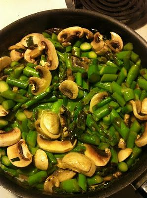 Sauteed asparagus and mushrooms. Easy recipe all you need are asparagus and  mushrooms.    - 2 cups asparagus (cleaned and cut in quarts)  - 1 cup mushrooms (cleaned, trimmed and cut in quarts)  - 2 springs fresh rosemary (minced)  - 1 tablespoon olive oil  - 1 teaspoon sea salt to taste  - 1 teaspoon black pepper to taste  - dash cayenne pepper to taste    Preparation  - In frying pan place olive oil and bring to high heat.  - Sauteed asparagus and mushrooms.  - Add seasoning to taste…