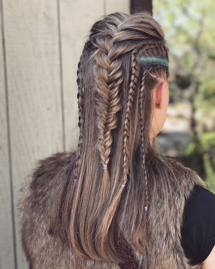20 Haar-Looks, inspiriert von Vikings Lagertha; Sie sieht unhöflich und weiblich mit Kriegerzöpfen aus – The One