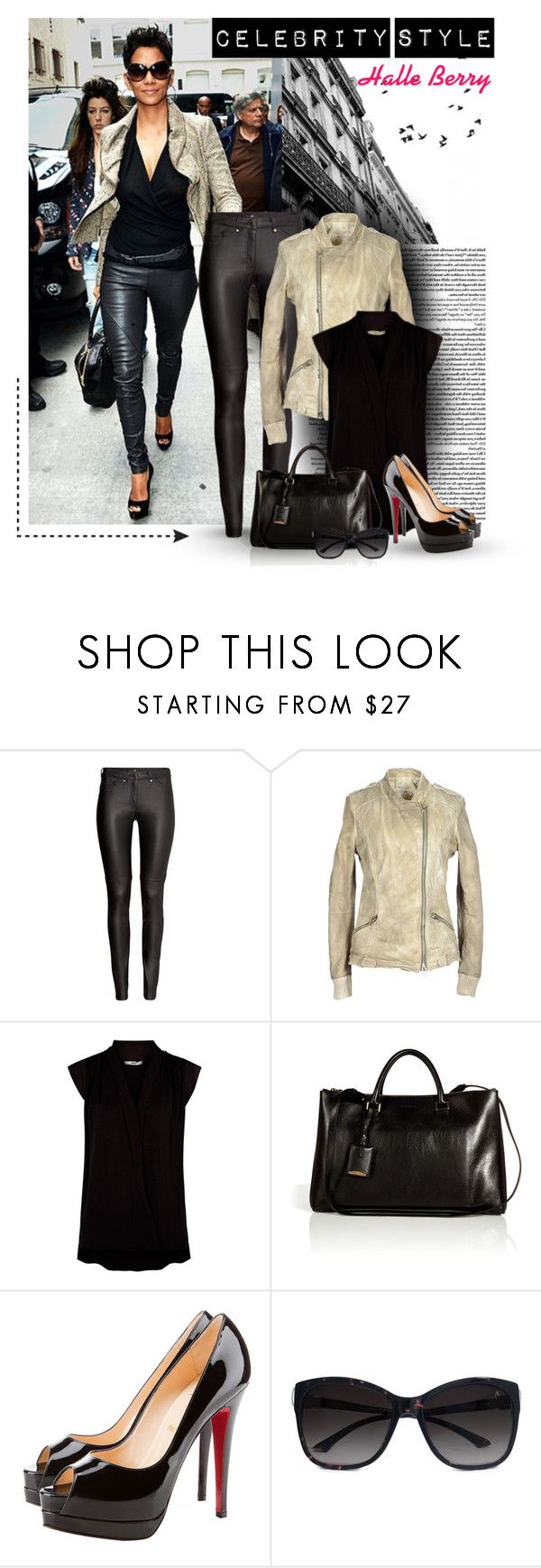 """""""Celebrity Style-Halle Berry"""" by uniqueimage ❤ liked on Polyvore featuring Été Swim, H&M, VINTAGE DE LUXE, Jil Sander, Christian Louboutin and GUESS by Marciano"""