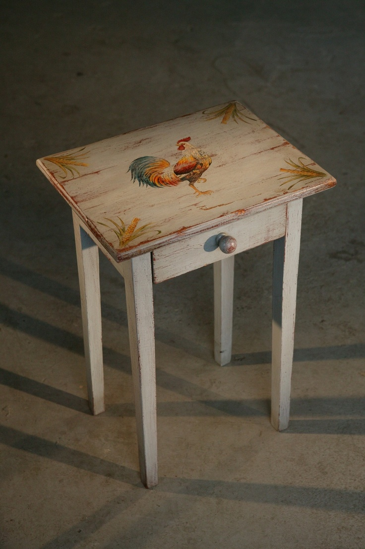 End Table With Painted Rooster