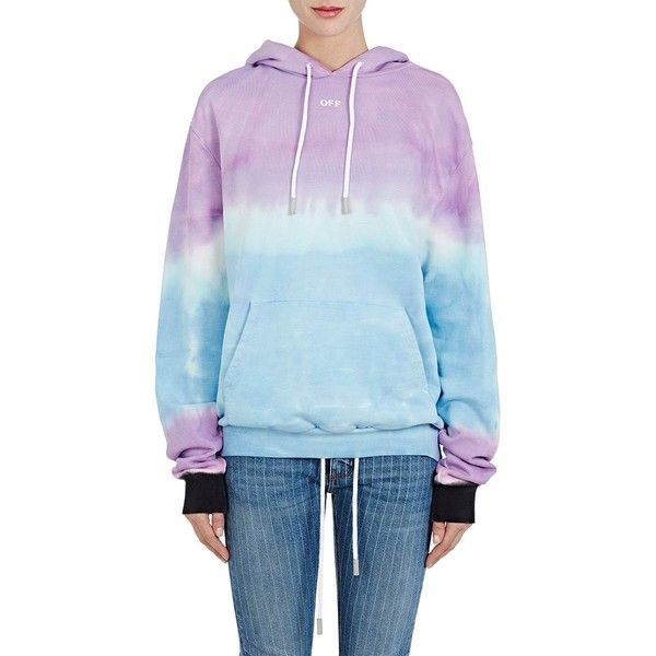 Off-White c/o Virgil Abloh Women's Tie-Dyed Cotton Terry Hoodie ($575) ❤ liked on Polyvore featuring tops, hoodies, tie dye hoodies, off white hoodie, blue hooded sweatshirt, sweatshirt hoodies and blue hoodies