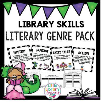 This Library Skills Literary Genre Pack is aimed at teaching children about literary genres. It includes 20 posters, no prep printable activities and bookmarks. Please see the product preview for exactly what you will get. This pack includes: 2, Genre Posters ● Adventure ● Crime ● Fantasy ● Family ● Historical Fiction ● Horror ● Comedy ● Mystery ● Poetry ● Autobiography ● Tall Tales ● Biography ● Science Fiction ● Realistic Fiction ● Action ● Fables ● Fairy Tales ● Folk Tales ● Drama ● Myths…