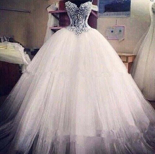 Luxurious Bling Strapless Wedding dresses Corset Bodice Sheer Bridal Ball  Crystal Pearl Beads Rhinestones Tulle Wedding Gowns-in… 7ae936e628e4