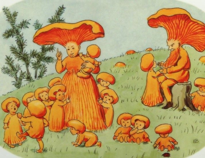 "Elsa Beskow's illustration to a swedish song for children  ""Har du sett Herr Kantarell"" written by Jeanna Otterdahl, composed by Herman Palm"