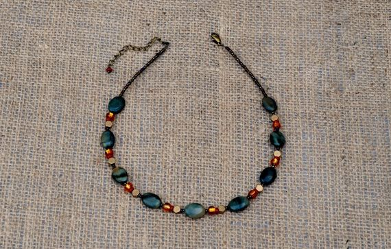 Beautiful soft grey toned Picasso Jasper necklace by BijoubeadsLondon £23.00