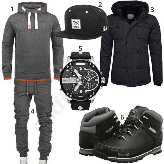 Grau-Schwarzer Street-Style mit Hoodie und Jogging-Chino   Menswear ... d250a3909d