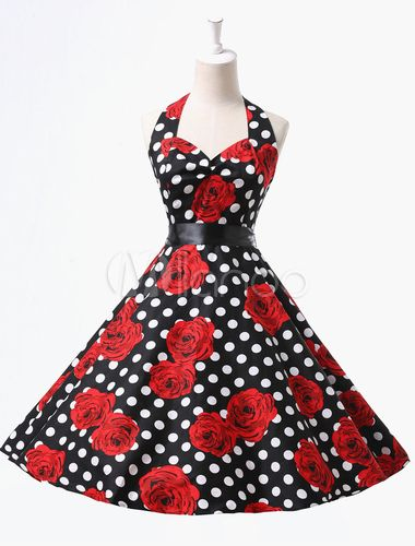 Sexy Retro Rockabilly Dance Dress With Rose and Polka Dot Print-No.4