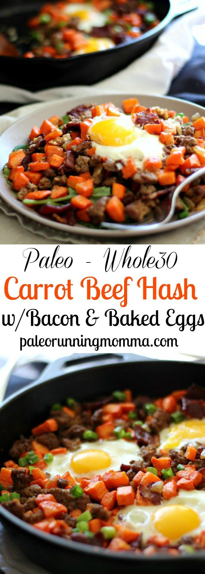Paleo and Whole30 Roasted Carrot Hash with ground beef and bacon plus baked eggs. #Lowcarb, #grainfree, dairy free, #whole30 and sugar detox friendly!